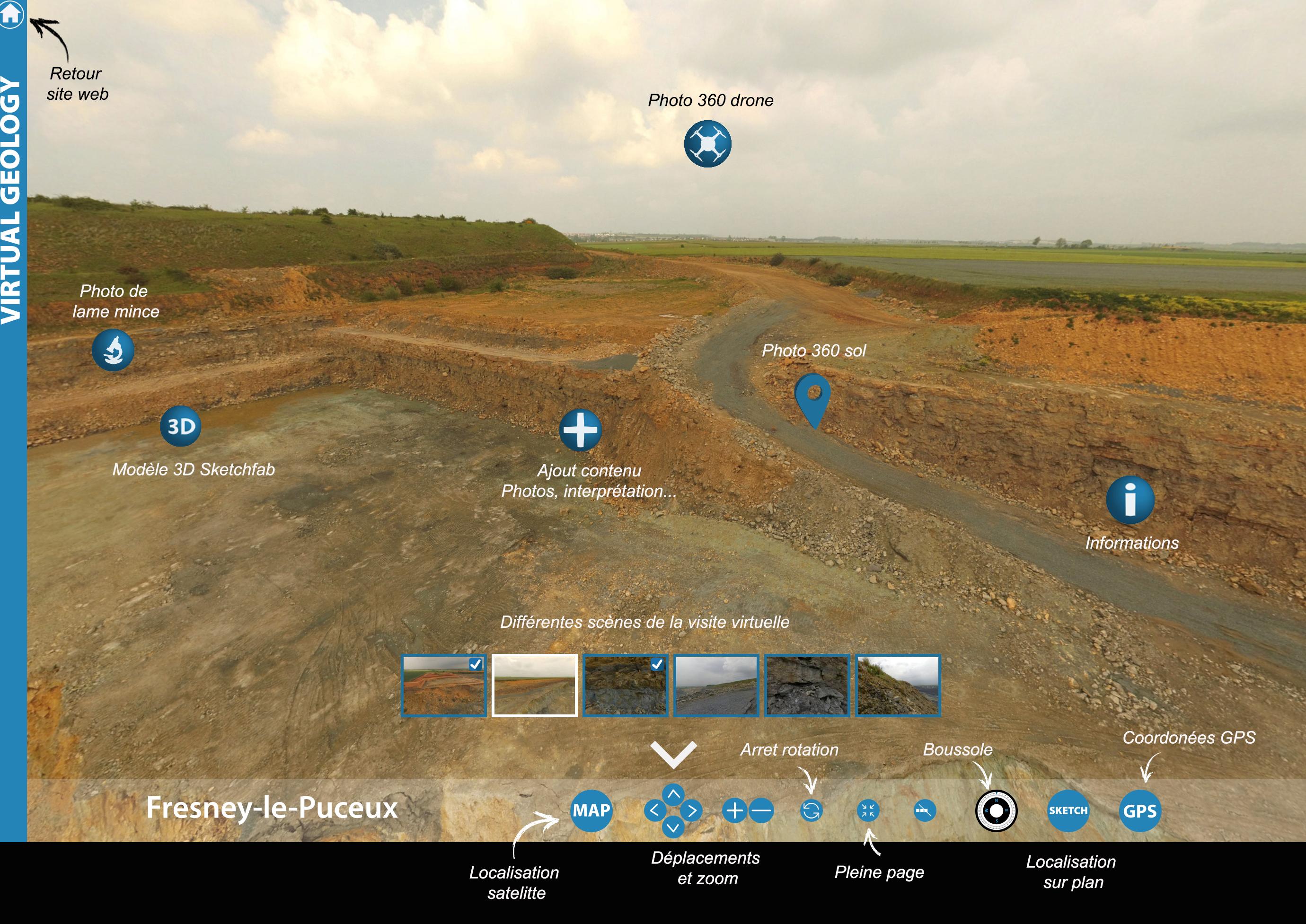 Geologie virtuel sur le terrain Découverte de field trip géologique virtuel 360